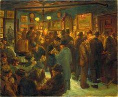 Saturday night at McSorley's, 1928 John French Sloan American Realism, American Artists, Greenwich Village, Gloucester, Spring Rain, William Glackens, Ashcan School, Hirshhorn Museum, Social Realism