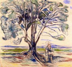 Edvard Munch - Alter Mann sitzt unter einem Baum - Old Man Sitting under a Tree.