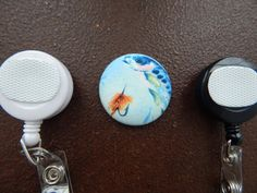 Brook Trout / Fish Fabric Covered Button for by tallulahssatchels (Accessories, Lanyard, badge reel, retractable, badge strap, clip on, lanyard, fabric button, tag holder, id badge reel, name tag, id, velcro button, trout badge reel, fish badge reel)