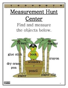 Math Centers Measurement - Super Easy and super fun for the kiddos. I would have them trace the object on paper then measure it and record the measurement below the tracing so that it will be easy to check answers! ;)