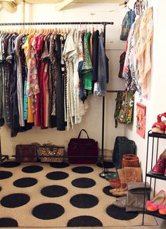 Love the rug, and amazing idea for a makeshift closet