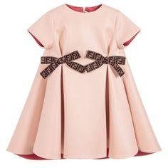 Peach Neoprene Dress With Logo Bows