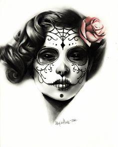 Sugar Skull Art Print by alyciaplank Sugar Skull Mädchen, Sugar Skull Makeup, Sugar Skull Tattoos, Day Of The Dead Girl, Day Of The Dead Skull, Los Muertos Tattoo, Day Of The Dead Artwork, Geniale Tattoos, Candy Skulls