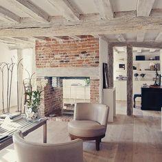 Rustic living room #livingroom #countryhome #fireplace #brickfireplace #woodenbeams #livingroominspiration #livingroominspo #livingroomdecor #livingroomdesign