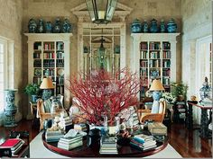 Blue & white ginger jars, vases, bowls and lamps displayed in Oscar de la Renta's Punta Cana beach house living room. (House Beautiful Dec/Jan 2012 via cote de texas) Decor, House Design, Home Libraries, Interior Design, Christmas Centerpieces Diy, Room, Inspiration, Home Decor, Coral Centerpieces