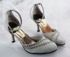 modern modest high heel wedding shoes with beading and straps