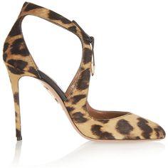 Aquazzura Stella leopard-print calf hair pumps, Women's, Size: 36.5 (27.115 CZK) ❤ liked on Polyvore