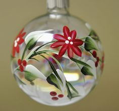 Christmas Ornament: Red Flowers and Holly Berries… Painted Christmas Ornaments, Hand Painted Ornaments, Handmade Ornaments, Christmas Tree Ornaments, Christmas Holidays, Christmas Decorations, Ball Ornaments, Christmas Projects, Holiday Crafts