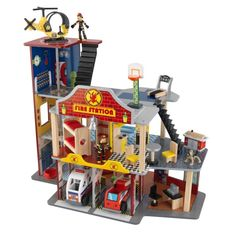 This KidKraft deluxe fire rescue play set features a sturdy wood construction for durability. Heroes Fire, Wooden Playset, Toys R Us Canada, Multiplication For Kids, Preschool Toys, Creative Play, Wooden Blocks, Wood Construction, Fire Trucks