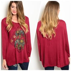 "❤️NEW❤️BURGANDY TOP ELEPHANTS IN CENTER Burgandy top is made of soft jersey and features long sleeves, rounded neckline, relaxed fit and large printed elephant graphic on center front. One size. 95% rayon 5% spandex. L28"" B25"" W24"".  ONE SIZE (7) Please comment size needed below.  Allow me to make your separate listing for you or help you make a bundle ❤️.  NO PAYPAL NO TRADES. Price is firm unless bundled. Tops Tunics"