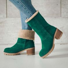 19a8890b29ae2a Green Grey Fold-able booties Women Plus Size Warm Square Chunky Heels Ankle  Fur Lined Snow Boots - High Street Whistles
