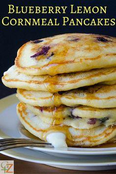 Blueberry Lemon Cornmeal Pancakes | Garlic + Zest