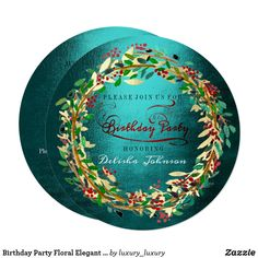 Shop Birthday Party Floral Elegant Teal Red Green Gold Invitation created by luxury_luxury. Green And Gold, Blue Gold, Red Green, Dark Blue, Teal, Gold Birthday, Birthday Invitations, Create Your Own, Decorative Plates