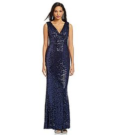 """""""Belle Badgley Mischka Sleeveless Sequin Gown #Dillards"""" This color! Y'all! This color is amazing!"""