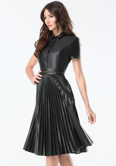 Bebe Leather pleated dress