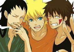 Shikamaru, Naruto & Kiba~.  (Love Shikamaru's hair in this picture!)