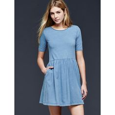Gap Women Indigo T Shirt Dress ($38) ❤ liked on Polyvore featuring dresses, indigo blue, petite, pleated circle skirt, tshirt dress, pleated dress, tee shirt dress and gap dresses