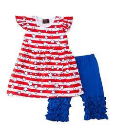 Red & Blue Stars Swing Top & Pants - Infant Toddler & Girls