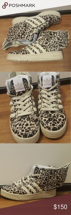 RARE ADIDAS x JEREMY SCOTT WINGS Lightly used rare leopard print Adidas by Jeremy Scott. Size 6.5 men or 7.5 women Adidas Shoes Athletic Shoes