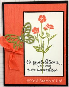 Stampin' Up! Cards - Wild About Flowers and Hardwood stamp sets, Bold Butterfly Framelits