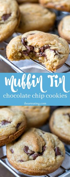 Muffin Tin Chocolate Chip Cookies Easy chocolate chip cookies baked in a muffin tin Chip Cookie Recipe, Cookie Recipes, Dessert Recipes, Cookie Ideas, Easy Chocolate Chip Cookies, Chocolate Desserts, Chocolate Chocolate, Muffin Tin Recipes, Baby Food Recipes