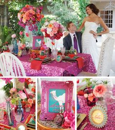 This is fun bight and different with glitter fascia linens. Ombre Wedding Dress, Colored Wedding Dresses, Rose Wedding, Purple Wedding, Wedding Colors, Dream Wedding, Party Table Decorations, Wedding Decorations, Party Tables
