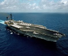 Indian Ocean (April - An aerial starboard bow view of the conventionally-powered aircraft carrier USS America (CV America was decomissioned in Aug. Navy photo by Photographer's Mate Class Robert D. Us Navy Aircraft, Navy Aircraft Carrier, Military Aircraft, Portsmouth, Norfolk, Uss America, Navy Carriers, Go Navy, Navy Blue