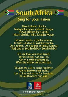RSA world cup rugby South Africa Rugby, South African Flag, Durban South Africa, South Afrika, Rugby Quotes, African Quotes, Sing For You, World Thinking Day, Le Cap