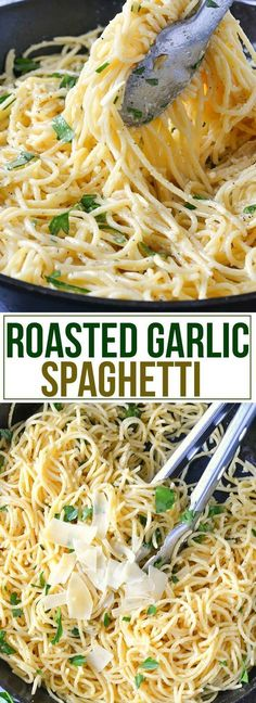 Get ready to dig into a delicious bowl of Roasted Garlic Spaghetti loaded with roasted garlic, Parmesan cheese, fresh herbs tossed in a buttery sauce. #pastafoodrecipes