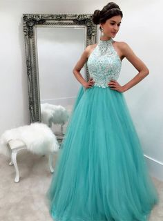 Pd61128 Charming Prom Dress,High-Neck Prom Dress,Tulle Prom Dress,Appliques Evening Dress