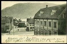 """TROMSØ. """"Parti af Strandskillet"""", utsikt fra Grand Hotel før 1905, eneret Grand Hotel, br. 1908"""