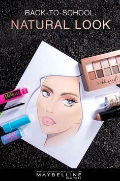 Let your true glow take center stage this school year. Get a natural back-to-school look with subtle makeup essentials from Maybelline. Follow this face chart for natural makeup product must-haves. The Blushed Nudes Eyeshadow Palette, Baby Lips Balm, Master Strobing Stick and Great Lash Mascara. Go nude this school year.