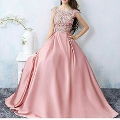 Chic A-line Scoop Pink Satin Applique Modest Prom Dress Evening Dress – AmyProm Prom Dresses 2016, Dance Dresses, Evening Dresses, Bridesmaid Dresses, Formal Dresses, Stunning Dresses, Beautiful Gowns, Pretty Dresses, Creation Couture