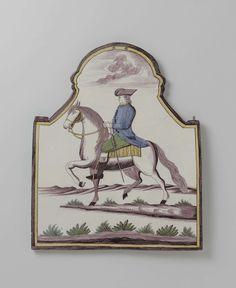 Anonymous | Plaat, veelkleurig beschilderd met een ruiter in een landschap, Anonymous, 1780 - 1810 | Plaque van faience. Veelkleurig beschilderd met een ruiter in een landschap.