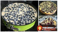 Čučoriedkový koláč s tvarohom a čokoládou: Je tak fantastický, že odporúčam robiť dva plechy naraz - zvládne ho aj manžel! Pancakes, Pudding, Baking, Breakfast, Desserts, Food, Morning Coffee, Tailgate Desserts, Deserts