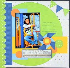 Cheerful Dreams Scrapbook Layout Project Page Idea