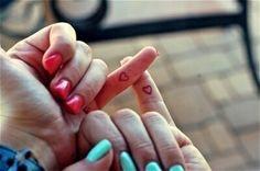 match heart on pinky finger tattoo