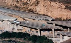 I-5 Damage at Gavin Canyon, California after the Northridge earthquake of January 17, 1994. Thank goodness this sort of event almost never happens.