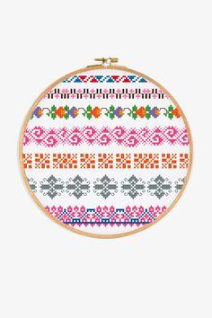 PAT0551 Cross Stitch Borders, Cross Stitch Patterns, Motif Floral, Floral Design, Blackwork Embroidery, Dmc, Le Point, Perler Beads, Needlework