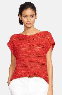 Women's Lauren Ralph Lauren Open Stitch Bateau Neck Sweater