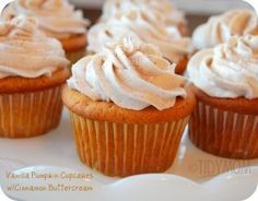 AMAZING CRAZY GOOD cupcakes vanilla pumpkin cupcakes w cinnamon buttercream  (edits to recipe in comments on link-use canned pumpkin if you can't find pumpkin pudding mix, etc.) super moist and delicious!