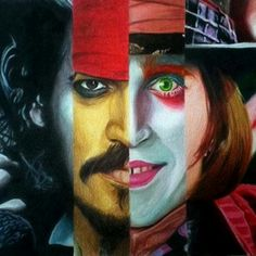 Johnny Depp face collage. (tattoo)