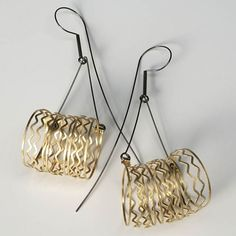 Earrings | Ewa Franczak.  Gold and sterling silver.