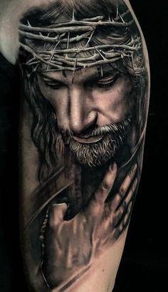 70 Amazing Religious Tattoos You To Be Inspired Jesus Tattoo Sleeve, Religious Tattoo Sleeves, Lion Tattoo Sleeves, Best Sleeve Tattoos, Tattoo Sleeve Designs, Jesus Tatoo, Lion Head Tattoos, Body Art Tattoos, Hand Tattoos