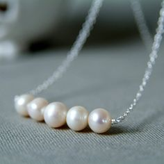 Pearl Necklace Silver & Cream Cultured Pearls by RockRoseJewellery, £20.00