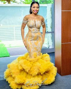 Aso ebi Long Gown Styles 2019 for Female in Nigeria.Aso ebi Long Gown Styles 2019 for Female in Nigeria African Prom Dresses, Latest African Fashion Dresses, African Print Fashion, African Dress, Africa Fashion, Ankara Fashion, African Prints, African Wear, Nigerian Wedding Dress