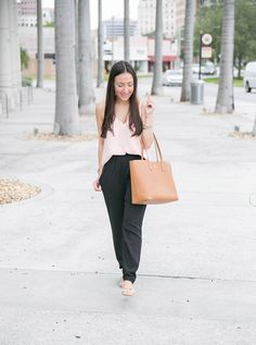 Black pants and nude top for casual workwear
