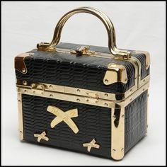 Elite and rare Paloma Picasso black leather vintage box handbag train case