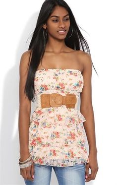 Deb Shops Strapless Ruffle Top with Floral Print and Belted Waist $18.00