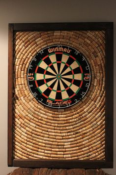Wine Cork Dartboard Backer | Game Room Décor | Salvaged Cork Dartboard Backer